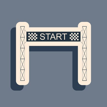 Black Starting line icon isolated on grey background. Start symbol. Long shadow style. Vector Illustration