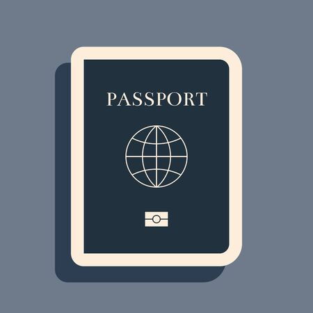 Black Passport with biometric data icon isolated on grey background. Identification Document. Long shadow style. Vector Illustration