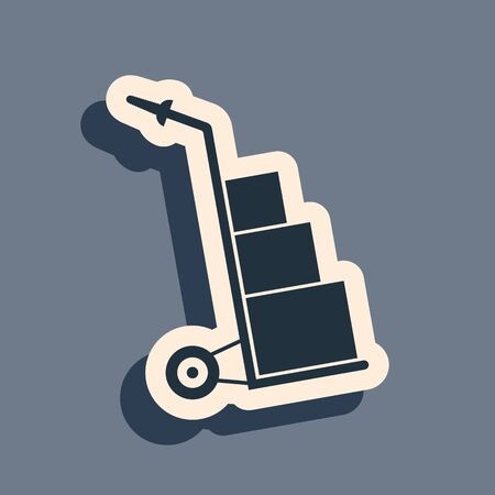 Black Hand truck and boxes icon isolated on grey background. Dolly symbol. Long shadow style. Vector Illustration Ilustracja