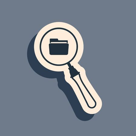 Black Search concept with folder icon isolated on grey background. Magnifying glass and document. Data and information sign. Long shadow style. Vector Illustration