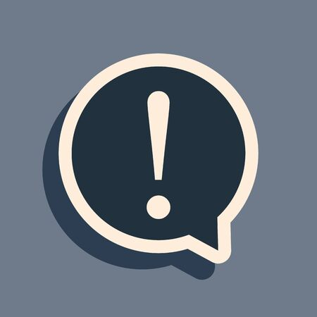 Black Exclamation mark in circle icon isolated on grey background. Hazard warning symbol. FAQ sign. Copy files, chat speech bubble and chart web icons. Long shadow style. Vector Illustration