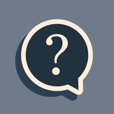 Black Question mark in circle icon isolated on grey background. Hazard warning symbol. FAQ sign. Copy files, chat speech bubble and chart web icons. Long shadow style. Vector Illustration