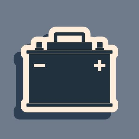 Black Car battery icon isolated on grey background. Accumulator battery energy power and electricity accumulator battery. Long shadow style. Vector Illustration