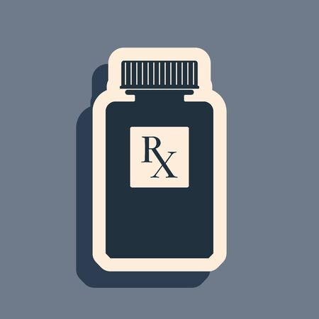 Black Pill bottle with Rx sign and pills icon isolated on grey background. Pharmacy design. Rx as a prescription symbol on drug medicine bottle. Long shadow style. Vector Illustration