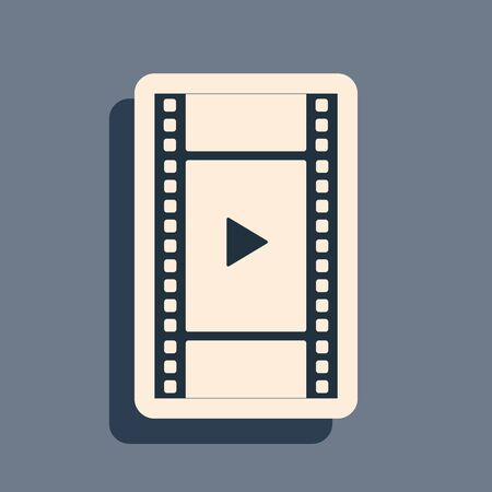 Black Play Video icon isolated on grey background. Film strip with play sign. Long shadow style. Vector Illustration 写真素材 - 143431386