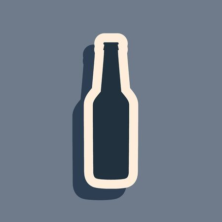 Black Beer bottle icon isolated on grey background. Long shadow style. Vector Illustration