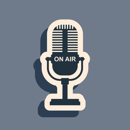 Black Microphone icon isolated on grey background. On air radio mic microphone. Speaker sign. Long shadow style. Vector Illustration