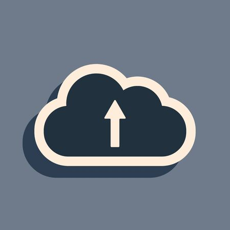 Black Cloud upload icon isolated on grey background. Long shadow style. Vector Illustration