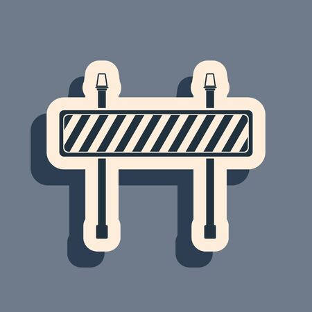 Black Road barrier icon isolated on grey background. Fence of building or repair works. Hurdle icon. Long shadow style. Vector Illustration