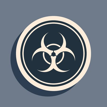 Black Biohazard symbol icon isolated on grey background. Long shadow style. Vector Illustration