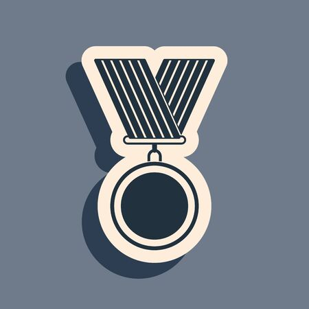 Black Medal icon isolated on grey background. Winner symbol. Long shadow style. Vector Illustration