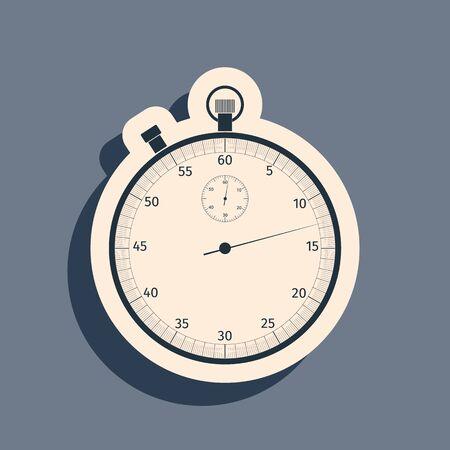 Black Classic stopwatch icon isolated on grey background. Timer icon. Chronometer sign. Long shadow style. Vector Illustration Vektoros illusztráció