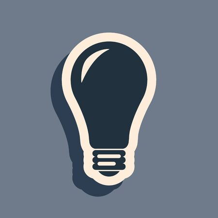 Black Light bulb icon isolated on grey background. Energy and idea symbol. Lamp electric. Long shadow style. Vector Illustration