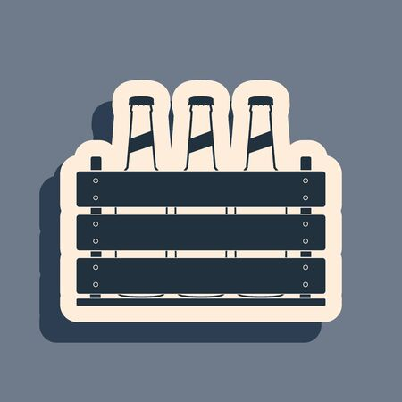 Black Pack of beer bottles icon isolated on grey background. Wooden box and beer bottles. Case crate beer box sign. Long shadow style. Vector Illustration Illustration