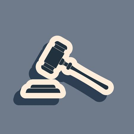 Black Judge gavel icon isolated on grey background. Gavel for adjudication of sentences and bills, court, justice, with a stand. Auction hammer symbol. Long shadow style. Vector Illustration