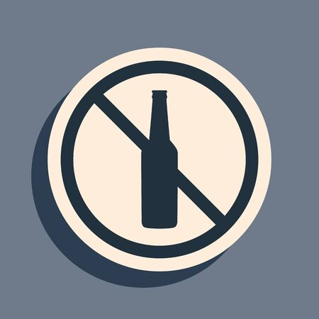 Black No alcohol icon isolated on grey background. Prohibiting alcohol beverages. Forbidden symbol with beer bottle glass. Long shadow style. Vector Illustration 向量圖像
