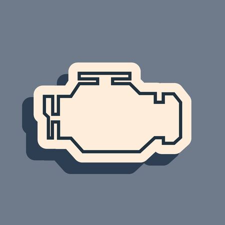 Black Check engine icon isolated on grey background. Long shadow style. Vector Illustration