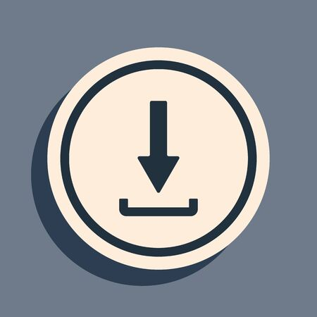 Black Download icon isolated on grey background. Upload button. Load symbol. Arrow point to down. Long shadow style. Vector Illustration 向量圖像