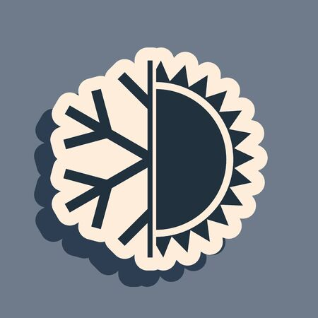 Black Hot and cold symbol. Sun and snowflake icon isolated on grey background. Winter and summer symbol. Long shadow style. Vector Illustration Vektoros illusztráció