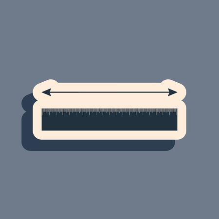 Black The measuring height and length icon isolated on grey background. Ruler, straightedge, scale symbol. Long shadow style. Vector Illustration Illustration