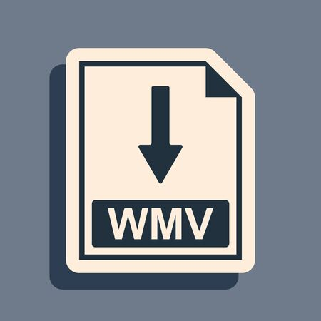 Black WMV file document icon. Download WMV button icon isolated on grey background. Long shadow style. Vector Illustration