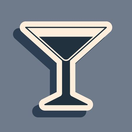 Black Martini glass icon isolated on grey background. Cocktail icon. Wine glass icon. Long shadow style. Vector Illustration