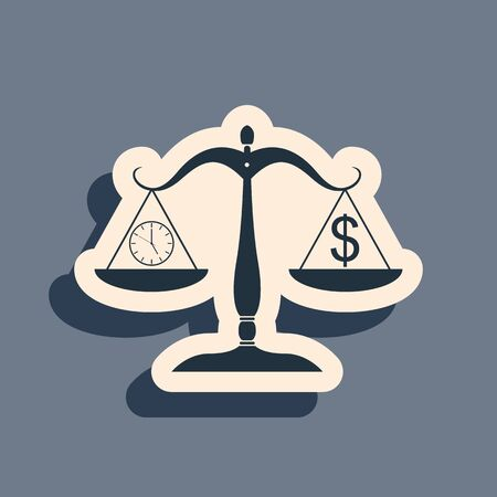 Black Scale weighing money and time icon isolated on grey background. Scales with hours and a coin. Balance between work and the given time. Long shadow style. Vector Illustration  イラスト・ベクター素材