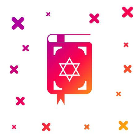 Color Jewish torah book icon on white background. The Book of the Pentateuch of Moses. On the cover of the Bible is the image of the Star of David. Gradient random dynamic shapes. Vector Illustration