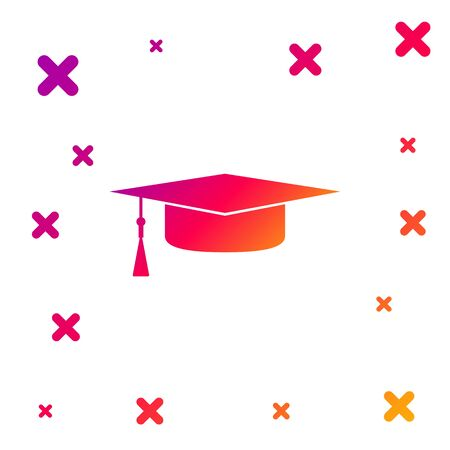 Color Graduation cap icon isolated on white background. Graduation hat with tassel icon. Gradient random dynamic shapes. Vector Illustration