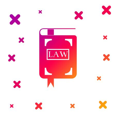 Color Law book icon isolated on white background. Legal judge book. Judgment concept. Gradient random dynamic shapes. Vector Illustration 矢量图像