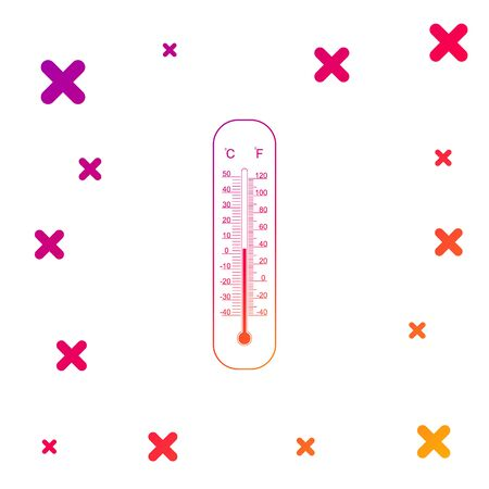Color Celsius and fahrenheit meteorology thermometers measuring heat and cold icon on white background. Thermometer equipment showing hot or cold weather. Gradient dynamic shapes. Vector Illustration