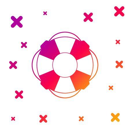 Color Lifebuoy icon isolated on white background. Lifebelt symbol. Gradient random dynamic shapes. Vector Illustration