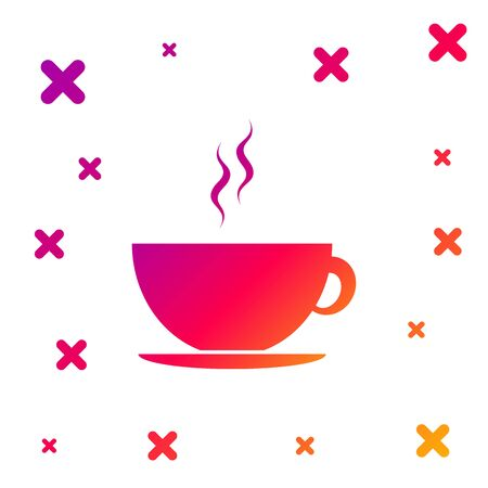 Color Coffee cup icon isolated on white background. Tea cup. Hot drink coffee. Gradient random dynamic shapes. Vector Illustration