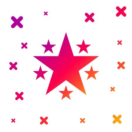 Color Star icon isolated on white background. Favorite, Best Rating, Award symbol. Gradient random dynamic shapes. Vector Illustration
