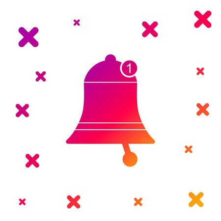 Color Bell icon isolated on white background. New Notification icon. New message icon. Gradient random dynamic shapes. Vector Illustration