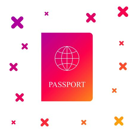 Color Passport with biometric data icon isolated on white background. Identification Document. Gradient random dynamic shapes. Vector Illustration Vectores