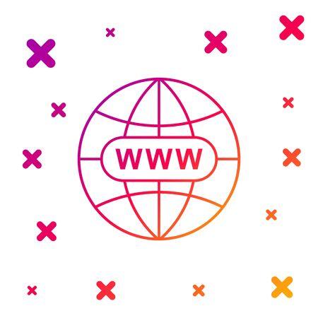 Color Go To Web icon on white background. Www icon. Website pictogram. World wide web symbol. Internet symbol for your web site design, app, UI. Gradient random dynamic shapes. Vector Illustration