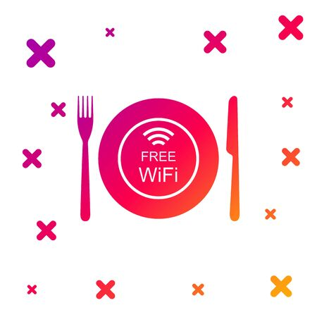 Color Restaurant Free Wi-Fi zone icon isolated on white background. Plate, fork and knife sign. Gradient random dynamic shapes. Vector Illustration