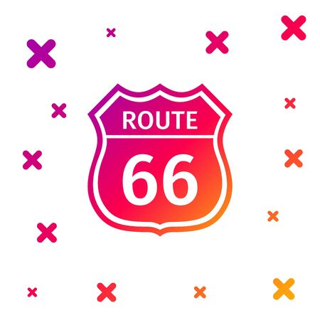 Color American road icon isolated on white background. Route sixty six road sign. Gradient random dynamic shapes. Vector Illustration