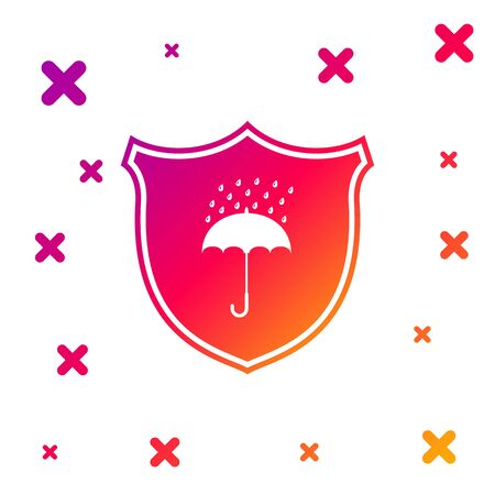 Color Waterproof icon isolated on white background. Shield and umbrella. Protection, safety, security concept. Water resistant symbol. Gradient random dynamic shapes. Vector Illustration