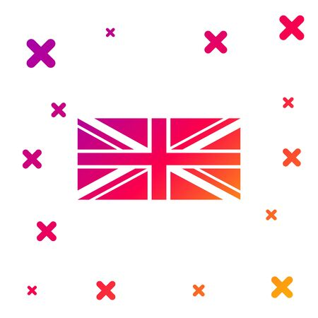 Color Flag of Great Britain icon isolated on white background. UK flag sign. Official United Kingdom flag sign. British symbol. Gradient random dynamic shapes. Vector Illustration