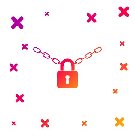 Color Metal chain and lock icon isolated on white background. Padlock and steel chain. Gradient random dynamic shapes. Vector Illustration