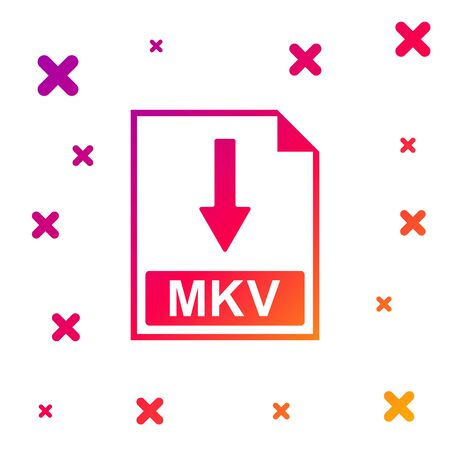 Color MKV file document icon. Download MKV button icon isolated on white background. Gradient random dynamic shapes. Vector Illustration Vectores