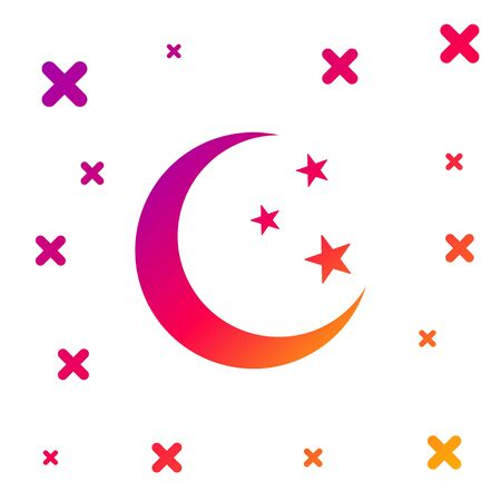 Color Moon and stars icon isolated on white background. Gradient random dynamic shapes. Vector Illustration 向量圖像