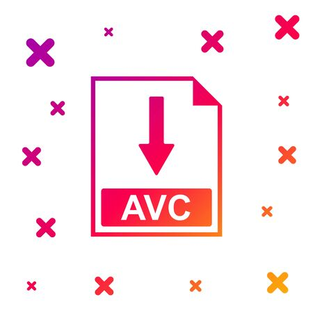 Color AVC file document icon. Download AVC button icon isolated on white background. Gradient random dynamic shapes. Vector Illustration Vectores