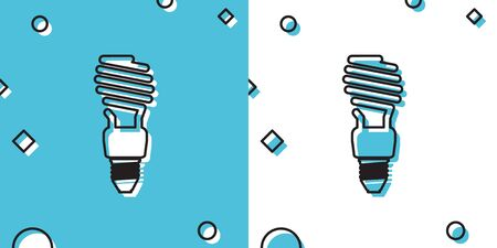 Black Energy saving light bulb icon isolated on blue and white background. Random dynamic shapes. Vector Illustration Illustration