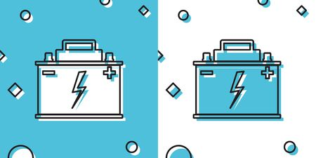 Black Car battery icon isolated on blue and white background. Accumulator battery energy power and electricity accumulator battery. Lightning bolt symbol. Random dynamic shapes. Vector Illustration