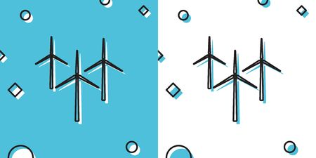 Black Wind turbine icon isolated on blue and white background. Wind generator sign. Windmill silhouette. Windmills for electric power production. Random dynamic shapes. Vector Illustration