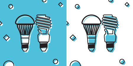 Black Economical LED illuminated lightbulb and fluorescent light bulb icon isolated on blue and white background. Save energy lamp. Random dynamic shapes. Vector Illustration