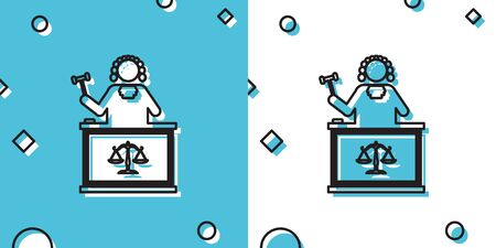 Black Judge with gavel on table icon isolated on blue and white background. Random dynamic shapes. Vector Illustration